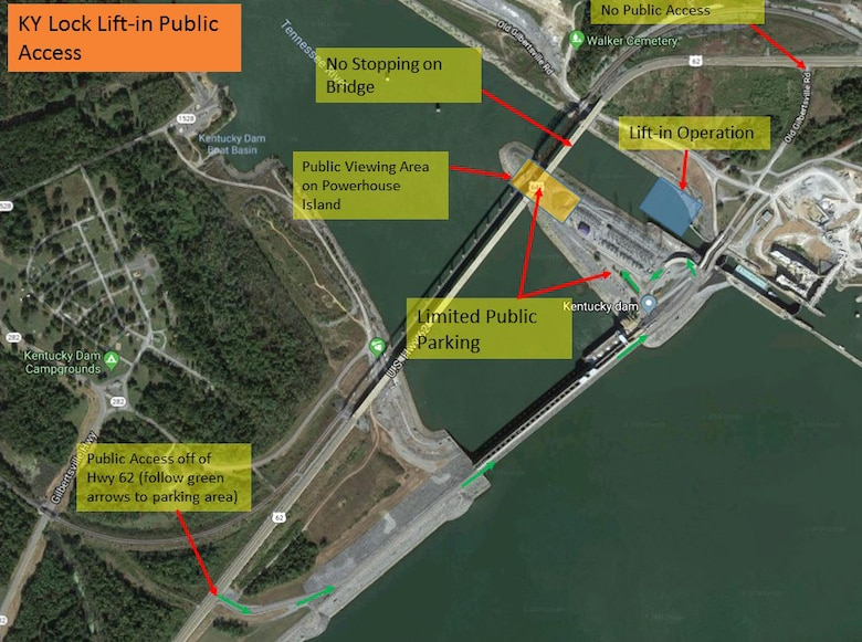 Diagram of Public Viewing Designated Area at Kentucky Dam of placement of a 1.3-million-pound concrete shell Friday, Aug. 3, 2018 that will form a part of the downstream cofferdam for the new lock under construction at Kentucky Dam, a Tennessee Valley Authority project.   Lifting and setting this massive concrete shell represents a critical milestone towards completion of the new 1,200-foot-long navigation lock and involves techniques never previously attempted. This placement is part of the U.S. Army Corps of Engineers Nashville District's Kentucky Lock Addition Project. (Courtesy Asset)