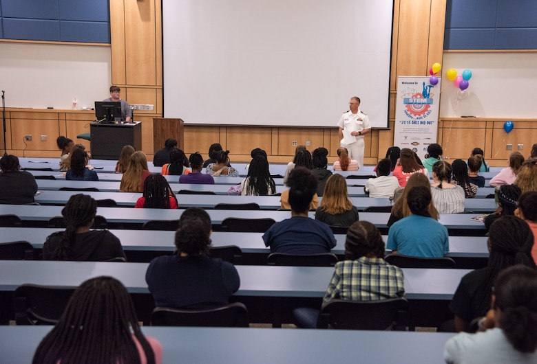 U.S. Navy Capt. Scott Heller, Space and Naval Warfare Systems Center (SSC) Atlantic commanding officer, kicks off the seventh annual Girls Day Out event at Trident Technical College July 26, 2018.