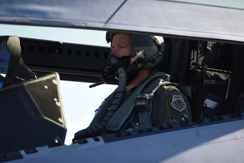 U.S. Air Force Col. Christopher Niemi, 3rd Wing commander, prepares for his fini flight in an F-22 Raptor, July 19, 2018 at Joint Base Elmendorf-Richardson, Alaska.