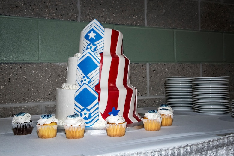 A cake displaying the ranks of the Air Force's highest enlisted tier rests during Moody's Senior NCO induction ceremony, July 27, 2018, in Valdosta, Ga. The ceremony honored Moody's upcoming and newest Senior NCOs as they join the ranks of the highest enlisted tier. Senior NCOs lead and manage teams, provide guidance to leadership, translate leaders' decisions into specific tasks, and help Airmen internalize the Air Force core values. (U.S. Air Force photo by Airman 1st Class Eugene Oliver)