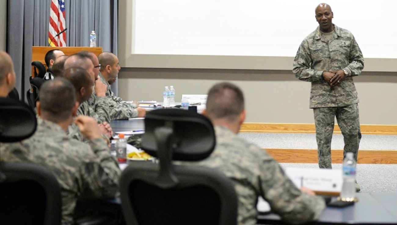Chief Master Sgt. of the Air Force Kaleth O. Wright, addresses a group of chiefs from around Air Force Materiel Command during their new chiefs orientation course, at Wright-Patterson Air Force Base, Ohio, Feb. 24, 2017. During his time with the chiefs, Wright addressed some of his priorities as CMSAF, like developing leaders, and training, among many other topics. This outing marks his first official base visit as the 18th CMSAF. (U.S. Air Force photo by Wesley Farnsworth)