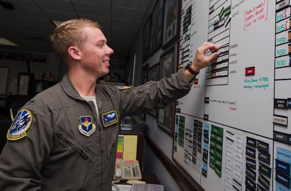 First Lieutenant Clay Reierson, 86th Flying Training Squadron instructor pilot and flight scheduler, manages the schedule board in his classroom, July 24, 2018 at Laughlin Air Force Base, Texas. Reierson explained that the growing student undergraduate pilot training class sizes provide greater opportunities to fly, but they also demand instructor pilots and students alike to be diligent with time management. (U.S. Air Force photo by Airman 1st Class Anne McCready)