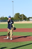 Texas Congressman Mike Conaway throws the first pitch to start the Stars and Strikes Softball game between Goodfellow and San Angelo at the Matthis Fitness Center softball field on Goodfellow Air Force Base, Texas, July 31, 2018. This was the first game between the base's intramural team and the city's all-star team. (U.S. Air Force photo by Airman 1st Class Seraiah Hines/Released)