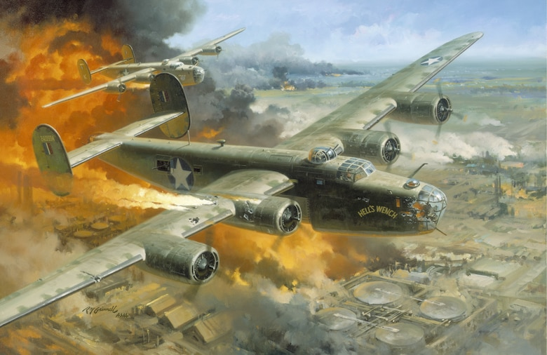 """Ploesti, Romania,  August 1, 1943  """"Hell's Wench,"""" a B-24 badly damaged by anti-aircraft artillery fire, led the 93rd Bombardment Group (Heavy) in its daring low level attack on the oil refineries at Ploesti, Romania which supplied two-thirds of Germany's petroleum production at that stage of World War II.  Lieutenant Colonel Addison E. Baker, an Ohio National Guardsman who commanded the 93rd, ignored the fact he was flying over terrain suitable for safe landing.  He refused to break up the lead formation by landing and led his group to the target upon which he dropped his bombs with devastating effect.  Then he left the formation but his valiant attempts to gain enough altitude for the crew to escape by parachute failed and the aircraft crashed.  For their gallant leadership and extraordinary flying skill both Baker and his pilot, Major John L. Jerstad, received the Medal of Honor posthumously.  The raid, nicknamed """"Operation Tidalwave,"""" was costly with 54 of the 177 bombers lost and 532 of the 1,726 personnel engaged listed as dead, missing or interned.  Baker's service epitomized the role of National Guard aviators during World War II.  Because of their experience, most of them were transferred from their 29 pre-war observation squadrons after mobilization.  As individuals, they helped train and lead the huge numbers of volunteer airmen who served in Army Air Forces units during the war.  Baker and other Guard aviators carried on a long tradition of dedicated service to the states and nation."""