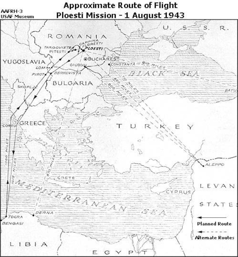 Approximate Route of Flight, Ploesti Mission - 1 August 1943. (U.S. Air Force photo)
