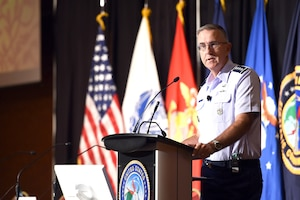 Air Force Gen. John E. Hyten, commander of U.S. Strategic Command, kicks off the 2018 United States Strategic Command Deterrence Symposium in La Vista, Neb., Aug. 1, 2018. His speech focused on deterrence operations and the work of service members around the globe supporting 21st century strategic deterrence. Navy photo by Petty Officer 1st Class Julie R. Matyascik
