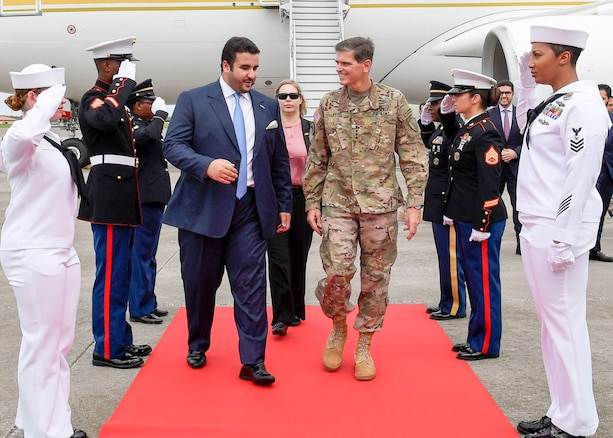 U.S. Army Gen. Joseph Votel, commander, U.S. Central Command, welcomes His Royal Highness Prince Khalid bin Salman, Ambassador of the Kingdom of Saudi Arabia, to the U.S., to MacDill Air Force Base, July 31, 2018. The two leaders discussed mutual security concerns in the USCENTCOM area of responsibility. (U.S. Air Force photo by TSgt. Dana Flamer)