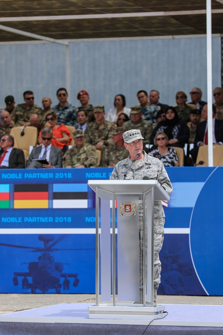 Air Force Gen. Joseph L. Lengyel, chief of the National Guard Bureau, provides opening remarks at the Noble Partner 18 opening ceremony at the Vaziani Airfield, Georgia, Aug. 1, 2018. Army photo by 1st Lt. Ellen C. Brabo