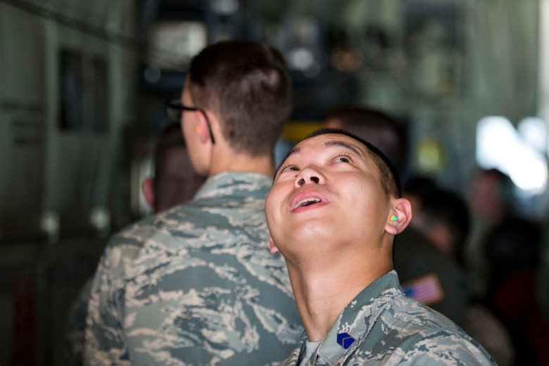 Cadet Loren Guevarra, University of Nevada, Las Vegas Detachment 004, observes the inside of an HC-130J Combat King II during Operation Air Force 2018, July 26, 2018, at Moody Air Force Base, Ga. From June 2-Aug. 1, three groups of cadets from across the nation participated in the annual program which gave them an opportunity to see the operational Air Force's mission and lifestyle before choosing a career as an officer. (U.S. Air Force photo by Airman 1st Class Erick Requadt)