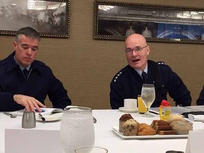Air Force general speaks with defense writers.