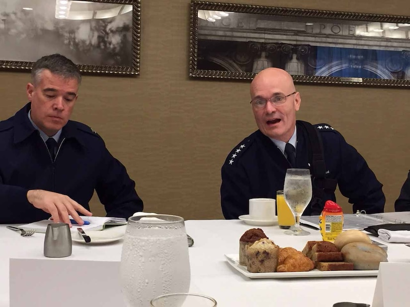 Air Force general speaks with defense writers.