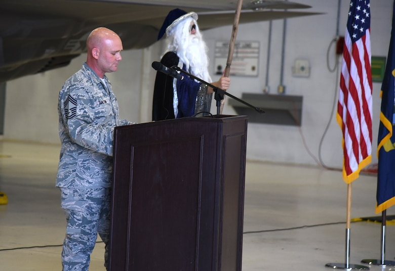 Chief Master Sgt. Matthew Coltrin addresses attendees during the first enlisted frocking ceremony in Air Education and Training Command on Aug. 1, 2018 at Eglin AFB, Fla. A frocking ceremony allows a military member to pin on new rank prior to their promotion date.(U.S. Air Force photo by 1st Lt. Savannah Stephens)