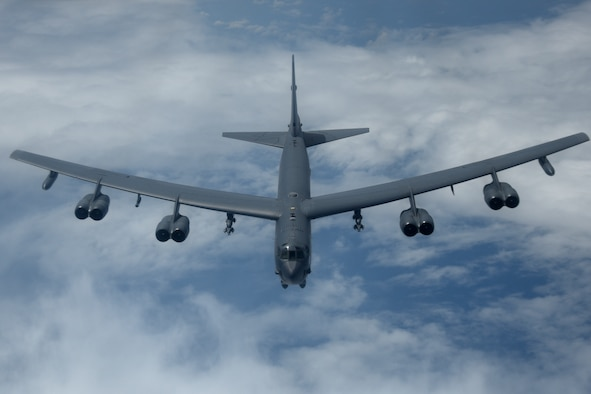 A U.S. Air Force B-52H Stratofortress bomber fly over the Pacific Ocean during a routine training mission Aug. 2, 2018. This mission was flown in support of U.S. Indo-Pacific Command's Continuous Bomber Presence operations, which are a key component to improving combined and joint service interoperability. (U.S. Air Force photo by Airman 1st Class Gerald R. Willis)