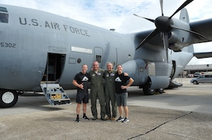 Kevin Klein and Sara Heesen, American Ninja Warriors, were briefed on the hurricane mission and toured a WC-130J of the 53rd Weather Reconnaissance Squadron, 403rd Wing, during the Alpha Warrior tour at Keesler Air Force Base, Mississippi Aug. 2, 2018. Alpha Warrior, built around a unique apparatus, challenges Airmen as they tackle the various obstacles or stations. This program is designed to enhance fitness training by helping Airmen build and maintain resiliency, while at home or deployed. (US. Air Force photo by Master Sgt. Jessica Kendziorek)
