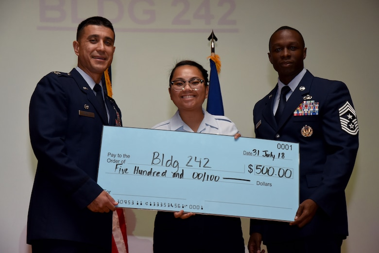 U.S. Air Force Col. Ricky Mills, 17th Training Wing commander, presents a check for the Dormitory of the Quarter to Airman 1st Class Catherine Fajardo, dorm president, on behalf of building 242, with Chief Master Sgt. Lavor Kirkpatrick, 17th TRW command chief, during the 17th TRW quarterly awards ceremony at the Base Theater on Goodfellow Air Force Base, Texas, July 31, 2018. (U.S. Air Force photo by Airman 1st Class Seraiah Hines/Released)