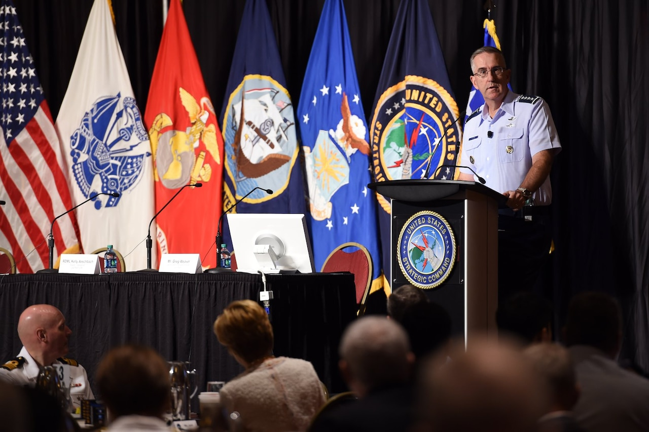 Air Force general speaks at conference.
