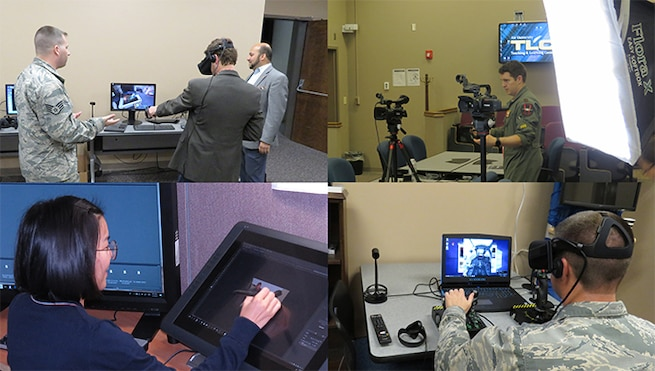 Images of persons exploring computers and wearable technology