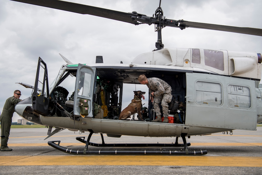 Staff Sgt. Cody Nickell, 374th Security Forces Squadron military working dog handler, works with Topa, 374 SFS MWD, to get him accustomed to being inside a UH-1N helicopter during a 459th Airlift Squadron MWD familiarization flight July 26, 2018, at Yokota Air Base, Japan.
