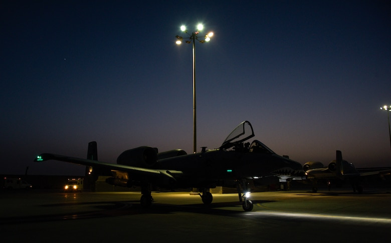 An A-10C Thunderbolt II pilot from the 75th Expeditionary Fighter Squadron, prepares to park after a mission on Kandahar Airfield, Afghanistan, Aug. 2, 2018. The mission, in support of Operation Freedom's Sentinel, provided aide to Afghan coalition partners against opposing forces. (U.S.  Air Force photo by Staff Sgt. Kristin High)