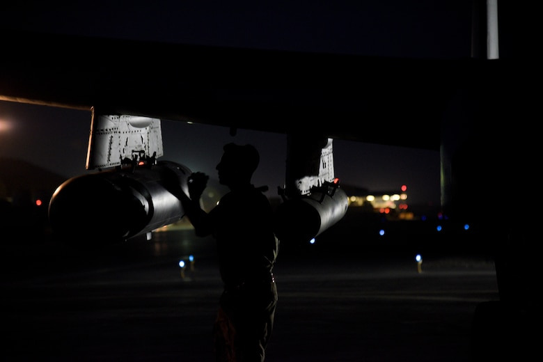 A crew chief from the 75th Expeditionary Fighter Squadron conducts pre-flight checks on an A-10C Thunderbolt II before take-off on Kandahar Airfield, Afghanistan, Aug. 2, 2018. The Airmen, from Moody Air Force Base, Georgia, are deployed in support of Operation Freedom's Sentinel by providing close-air support to Afghan forces and other coalition partners. (U.S. Air Force photo by Staff Sgt. Kristin High)