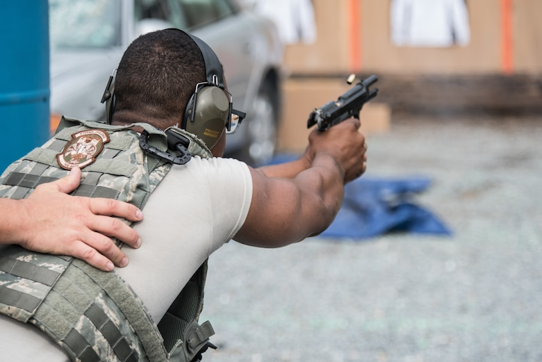 193rd Special Operations Security Forces Squadron  conduct a force-on-force drill during armed vehicle defense training.