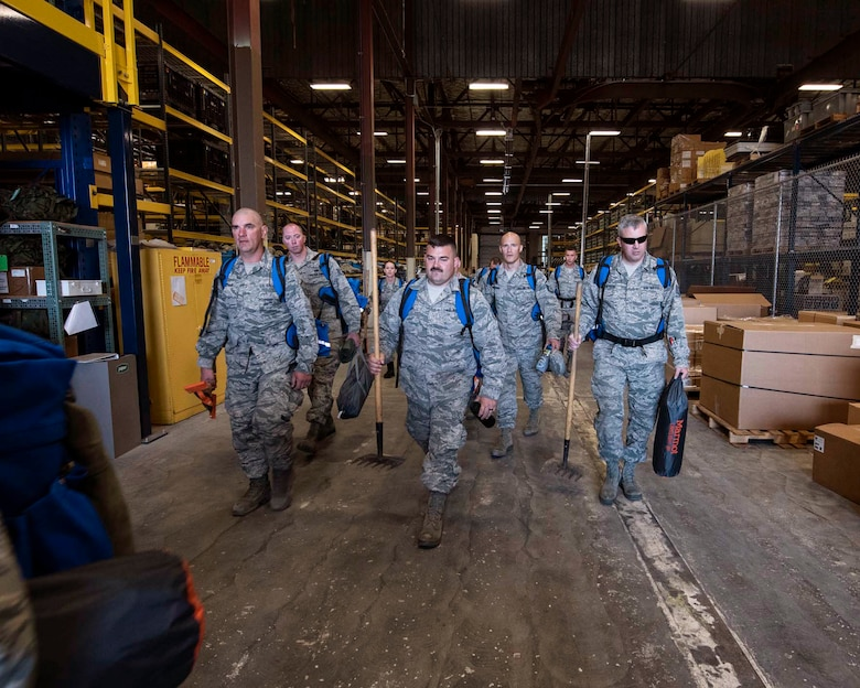 Airmen from the 141st Air Refueling Wing prepare to load emergency response and fire equipment at Fairchild Air Force Base, Wash. during a state mobilization in support of firefighting efforts in eastern Washington August 1, 2018. Gov. Jay Inslee activated Air and Army National Guard personnel to assist in firefighting efforts throughout the region. (U.S. Air National Guard photo by Staff Sgt. Rose M. Lust)