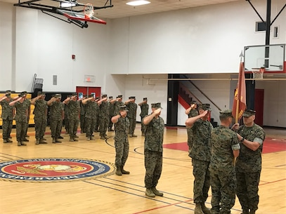 On August 3, 2018 the Marines of Utilities Instruction Company participated in the Change of Command ceremony where Major Aaron K. Wisherd relinquished command to Captain Stafford A. Buchanan. The passing of the guide-on signifies the transfer of Command, which entails the transfer of total accountability, authority, and responsibility from one commander to another. Utilities Instruction Company prepares officer and enlisted personnel for duty within the Operating Force by developing and presenting formal instruction and practical application in the 11xx Utilities Military Occupational Specialties at the entry, noncommissioned officer, and supervisory levels.