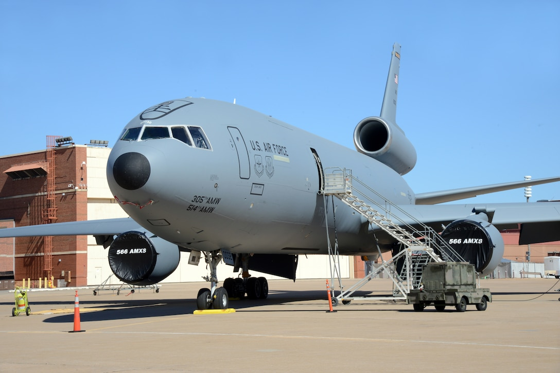 The last KC-10 to be painted at Tinker awaits departure in Oct. 2017. Recent changes to contracts for KC-10 maintenance have saved millions of dollars for the Air Force.