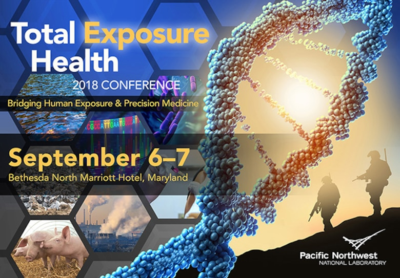 Total Exposure Health Conference 2018 is the scientific meeting concerning the application of exposure science to precision medicine. This conference introduces key exposure and health challenges for the military, military veterans, and the greater public. Advancements in toxicology, exposure science, and precision medicine will be presented and discussed in the context of real-world issues applicable to stakeholder interests. This year's theme, Bridging Human Exposure & Precision Medicine, is a key concept in support of the Air Force Medical Service's Total Exposure Health program and a main focus of the conference. (Courtesy graphic)