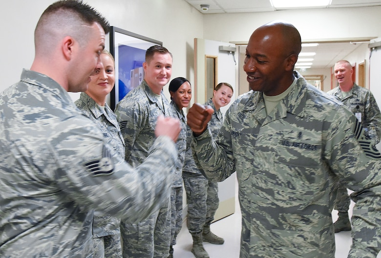 Chief Master Sgt. of the Air Force Kaleth O. Wright greets Airmen