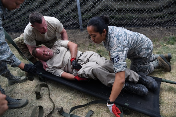 Airmen from the 108th Wing Medical Group participate in PATRIOT North 18, Volk Field, Wis.