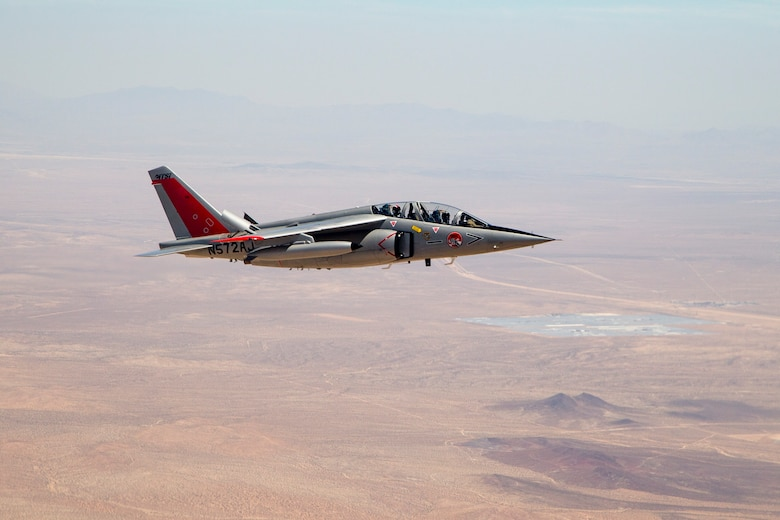 A Gauntlet Aerospace Alpha Jet flies above the Mojave Desert earlier this year. Two Alpha Jets have been contracted to serve as chase aircraft for test missions at Edwards. The 412th Operations Group is conducting an experiment to determine if the planes can successfully provide needed test support. (U.S. Air Force photo by Ethan Wagner)