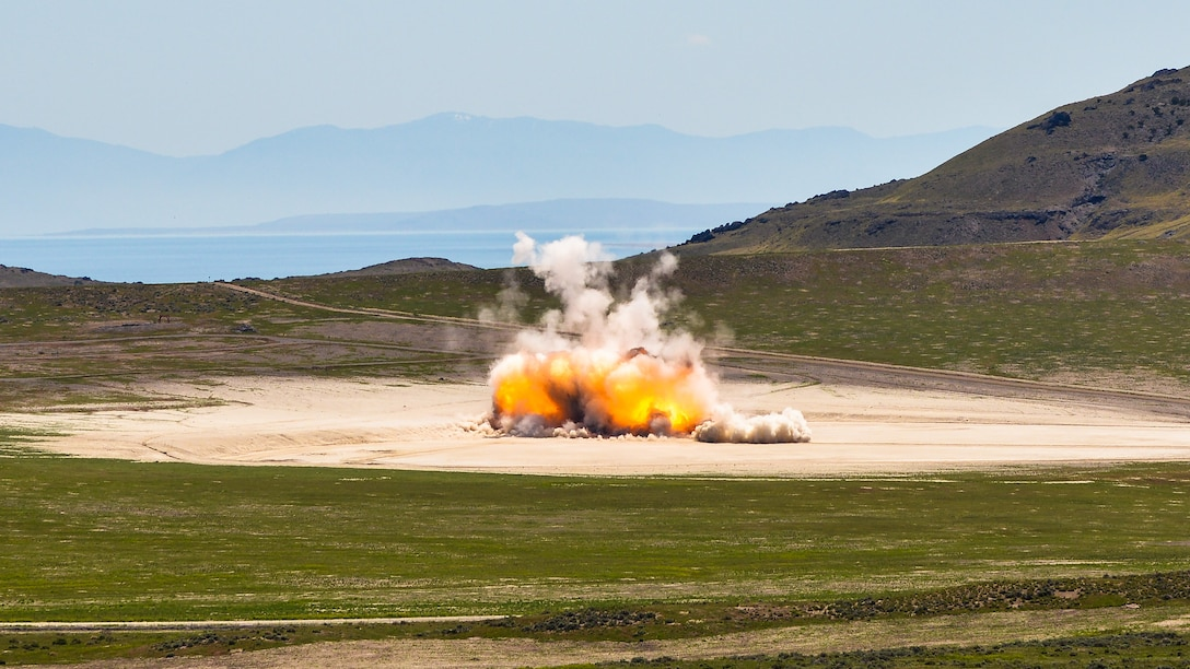 The Air Force detonates a solid-rocket motor June 2, 2015, at the Utah Test and Training Range in Utah. A series of large detonation operations will begin in early August and last through the end of September 2018 at the range. The destruction of the motors is occurring to eliminate aged propellant, and as part of international treaties to reduce the number of ballistic missiles. (U.S. Air Force photo by R. Nial Bradshaw)