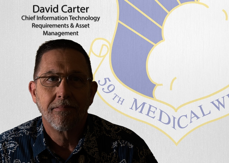 David Carter currently serves as the 59th Medical Wing Information Technology Requirements & Asset Management chief. Carter oversees IT Asset Management, with approximately 20,000 assets that have a combined valued greater than $13 million, the central point for information technology equipment tracking and distribution.  (U.S. Air Force illustration by Staff Sgt. Kevin Iinuma)