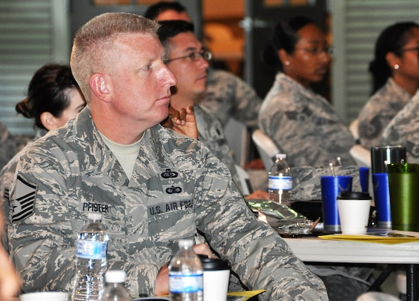 Master Sgt. Craig Pfister and enlisted members from the 340th Flying Training Group headquarters and its seven squadrons listen to briefings during the unit's 2018 Enlisted Summit held July 23-26 at the Hangar Hotel in Fredericksburg, Texas. (Air Force photo by Janis El Shabazz)  Master Sgt. Craig Pfister and enlisted members from the 340th Flying Training Group headquarters and its seven squadrons listen to briefings during the unit's 2018 Enlisted Summit held July 23-26 at the Hangar Hotel in Fredericksburg, Texas. (Air Force photo by Janis El Shabazz)