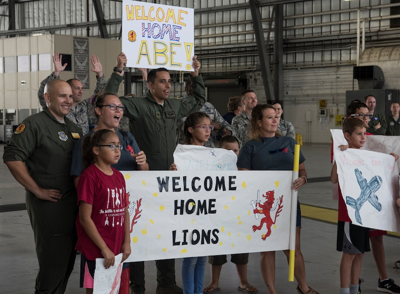 Family and friends welcome home the Airmen from the 16th Airlift Squadron Aug. 2, 2018, at Joint Base Charleston S.C. The 16th AS Airmen managed to complete a total of 1,045 sorties over a span of 2,212 hours, moving 35.6 million pounds of cargo to include 4,980 pallets and 10,914 passengers during their three-month tour in the Air Force Central Command area of responsibility.