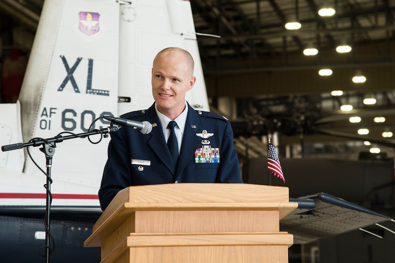 U.S. Air Force Lt. Col. Robert Vicars, Pilot Training Next lead speaks during the first ever Pilot Training Next graduation August 3, 2018 at the Texas Army National Guard Hangar in Austin, Texas. PTN is a program to explore and potentially prototype a training environment that integrates various technologies to produce pilots in an accelerated, cost efficient, learning-focused manner.(U.S. Air Force photo by Senior Airman Gwendalyn Smith)