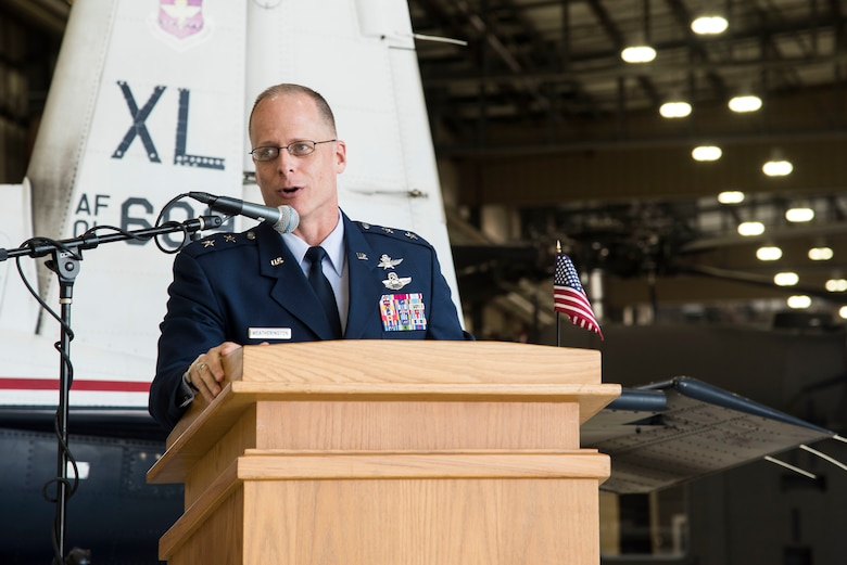 U.S. Air Force Maj. General Mark Weatherington, Air Education and Training deputy commander speaks during the first ever Pilot Training Next graduation August 3, 2018 at the Texas Army National Guard Hangar in Austin, Texas. PTN is a program to explore and potentially prototype a training environment that integrates various technologies to produce pilots in an accelerated, cost efficient, learning-focused manner.(U.S. Air Force photo by Senior Airman Gwendalyn Smith)