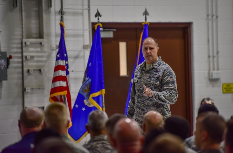 Brig. Gen. John J. Nichols, 509th Bomb Wing commander, addresses Airmen during a safety stand-down all call July 27, 2018, at Whiteman Air Force Base, Mo. After three years of zero reportable motorcycle incidents, base leaders cautioned members to review safety regulations and apply sound decision making in the wake of of a recent spike in rider mishaps. Nichols announced a comprehensive review of safety protocol and launch of a new rider mentorship program. (U.S. Air force photo by Tech. Sgt. Alexander W. Riedel)