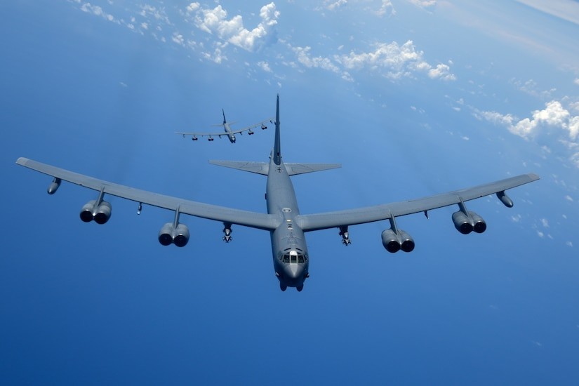 B-52H Stratofortress bombers fly over the Pacific Ocean
