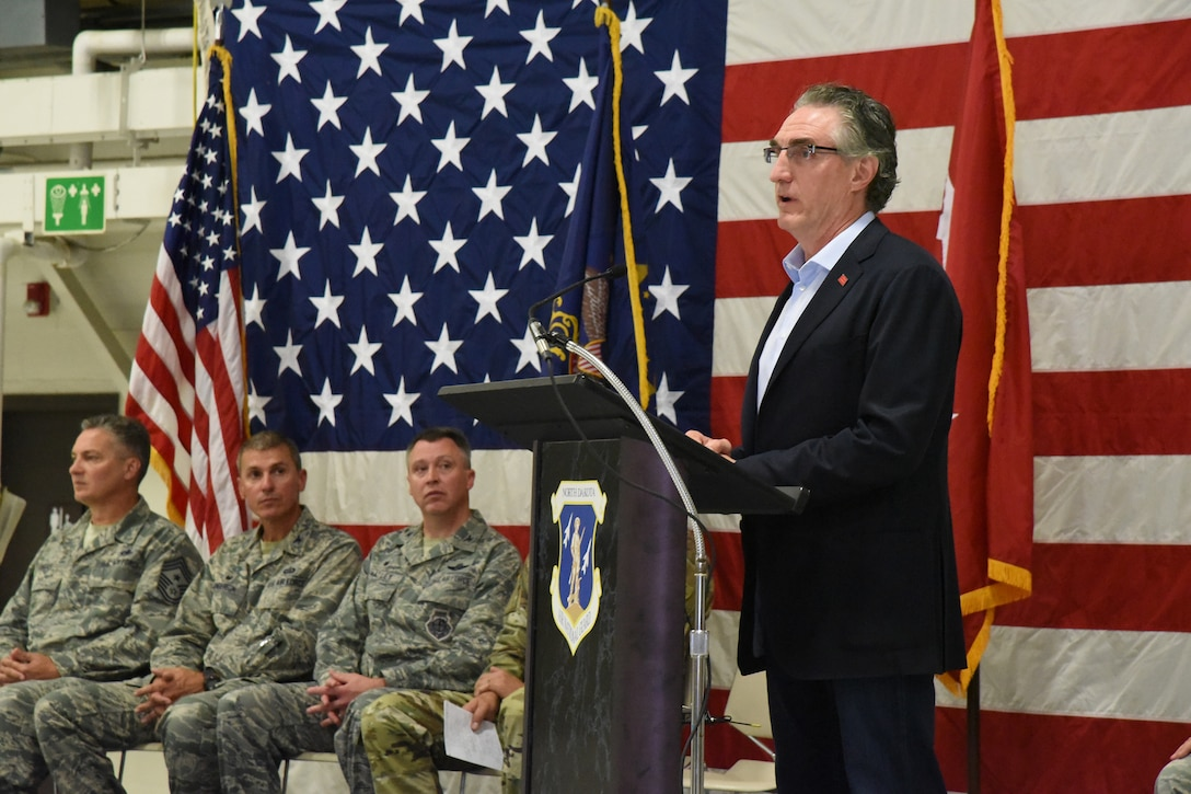 Gov. Doug Burgum speaks at 119th Wing change of command ceremony, at the North Dakota Air National Guard Base, Fargo, N.D., Aug. 4, 2018.
