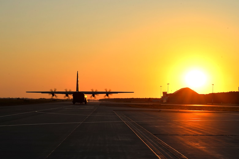 A U.S. Air Force C-130J Super Hercules assigned to the 37th Airlift Squadron taxis to the runway at Powidz Air Base, Poland, Aug. 5, 2018. The 37th AS conducts various flight training deployments with allied nations across Europe with the aim of building partnerships and enhancing mission readiness throughout the region. (U.S. Air Force photo by Senior Airman Joshua Magbanua)