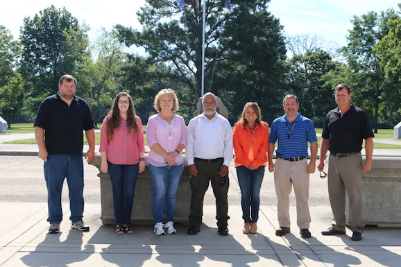 This team, consisting of members from several organizations across Arnold Air Force Base, recently worked together to prevent a calibration interval dropping to under six months for digital temperature scanners. The effort resulted in a cost avoidance of additional man hours for AEDC. Pictured left to right: Randy Jones, Jensie Castleman, Lora Arnold, Ed Simmons, Frances Samples, Randy Prince and Greg Earp. Not pictured is Kathy Gemma. (U.S. Air Force photo by Deidre Ortiz)