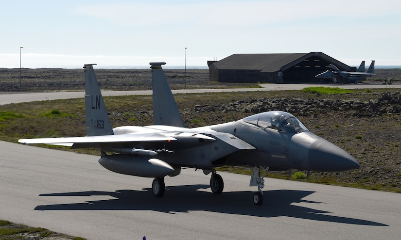 An Air Force F-15C Eagle taxis.