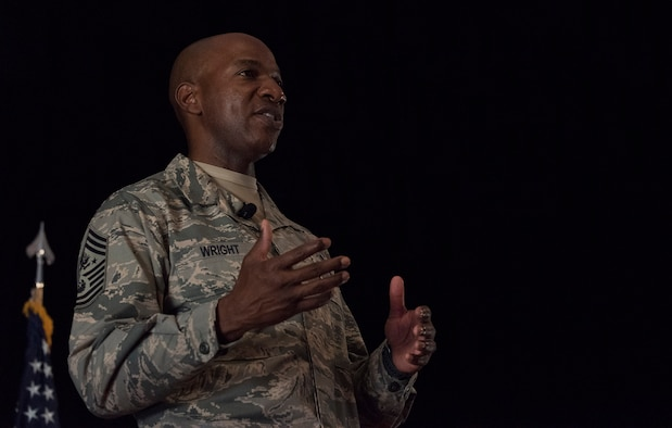 Chief Master Sgt. of the Air Force, Kaleth O. Wright, speaks with Airmen from the 501st Combat Support Wing (CSW) and partnering tenant units during an all call on Aug. 3, 2018 at RAF Alconbury, United Kingdom. The purpose of his visit was to meet with U.S. Air Force Airmen, speak about some current Air Force topics and learn more about the 501st CSW mission. (U.S. Air Force photo by TSgt. Brian Kimball)