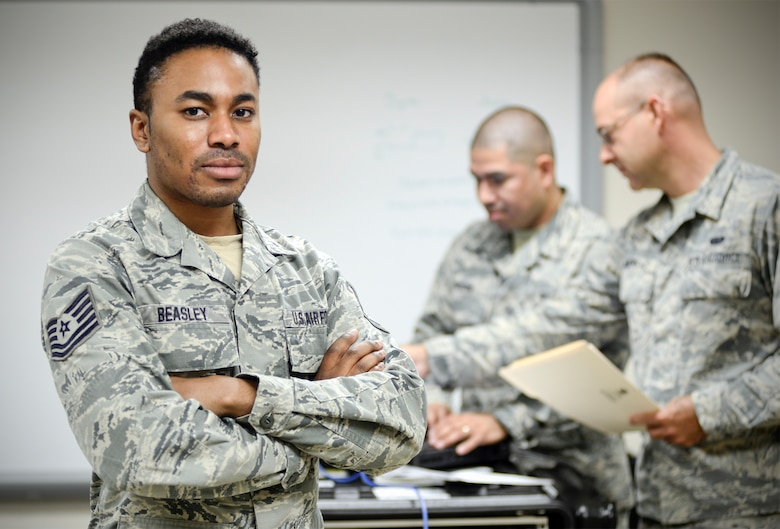 Technical Sergeant Jermaine R. Beasley was selected as the Air National Guard's 2018 Outstanding Non-commissioned Officer of the Year. Beasley is a client systems craftsman with the 236th Combat Communications Squadron, Hammond Air National Guard Station, Louisiana. (U.S. Air National Guard photo by Staff Sgt. Rana Franklin)
