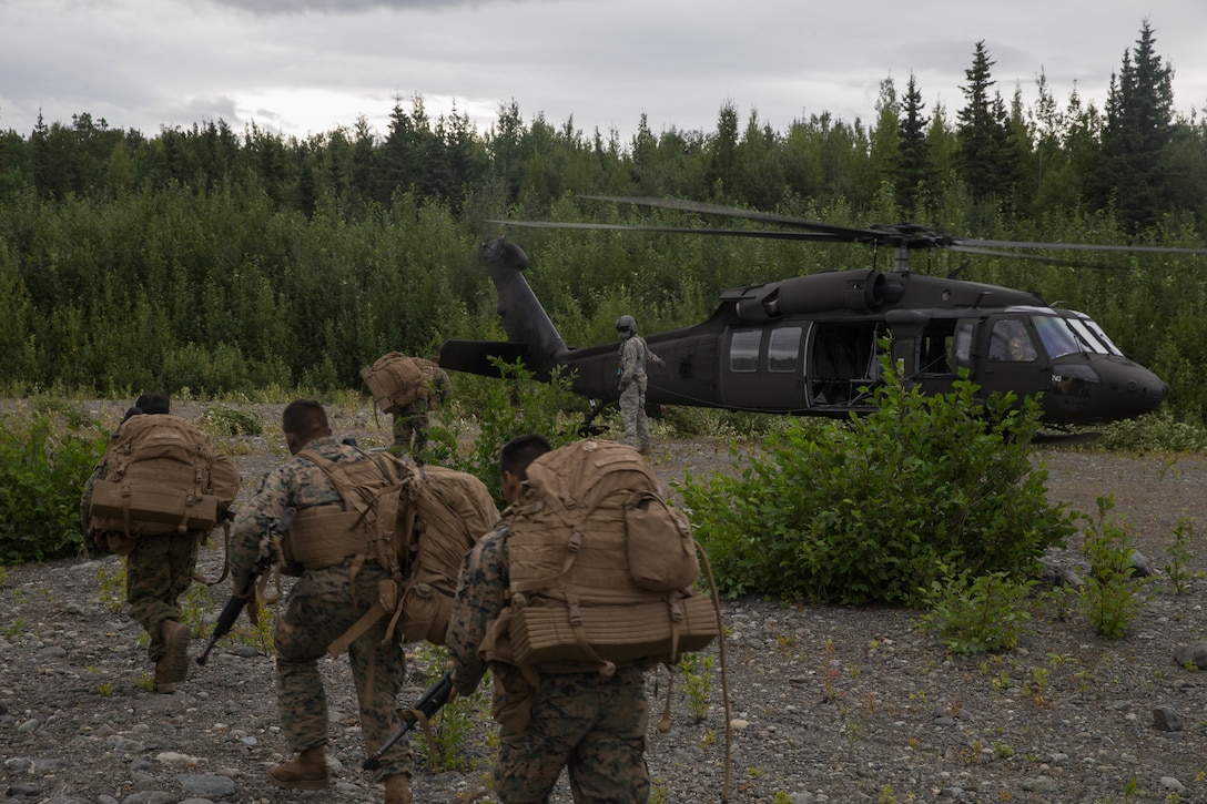 Marines with Charlie Company, 1st Battalion, 23rd Marine Regiment, competing in the 4th Marine Division Annual Rifle Squad Competition, make their way to a U.S. Army Sikorsky UH-60 Black Hawk at Joint Base Elmendorf-Richardson, Anchorage, Alaska, Aug. 3, 2018. Super Squad Competitions were designed to evaluate a 14-man infantry squad throughout an extensive field and live-fire evolution. (U.S. Marine Corps photo by Lance Cpl. Samantha Schwoch/released)