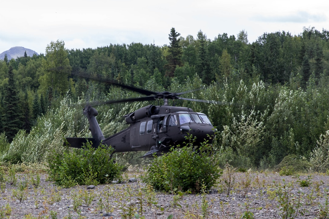 Marines with Charlie Company, 1st Battalion, 24th Marine Regiment, competing in the 4th Marine Division Annual Rifle Squad Competition, get air lifted out of Landing Zone 26 by a U.S. Army Sikorsky UH-60 Black Hawk at Joint Base Elmendorf-Richardson, Anchorage, Alaska, Aug. 3, 2018. Super Squad Competitions were designed to evaluate a 14-man infantry squad throughout an extensive field and live-fire evolution. (U.S. Marine Corps photo by Lance Cpl. Samantha Schwoch/released)
