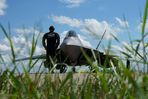 U.S. Air Force Airmen from the F-22 Raptor Demonstration Team, based out of Joint Base Langley-Eustis, Virginia, performed at the Cold Lake Air Show at Canadian Forces Base Cold Lake, Canada, July 21-22.