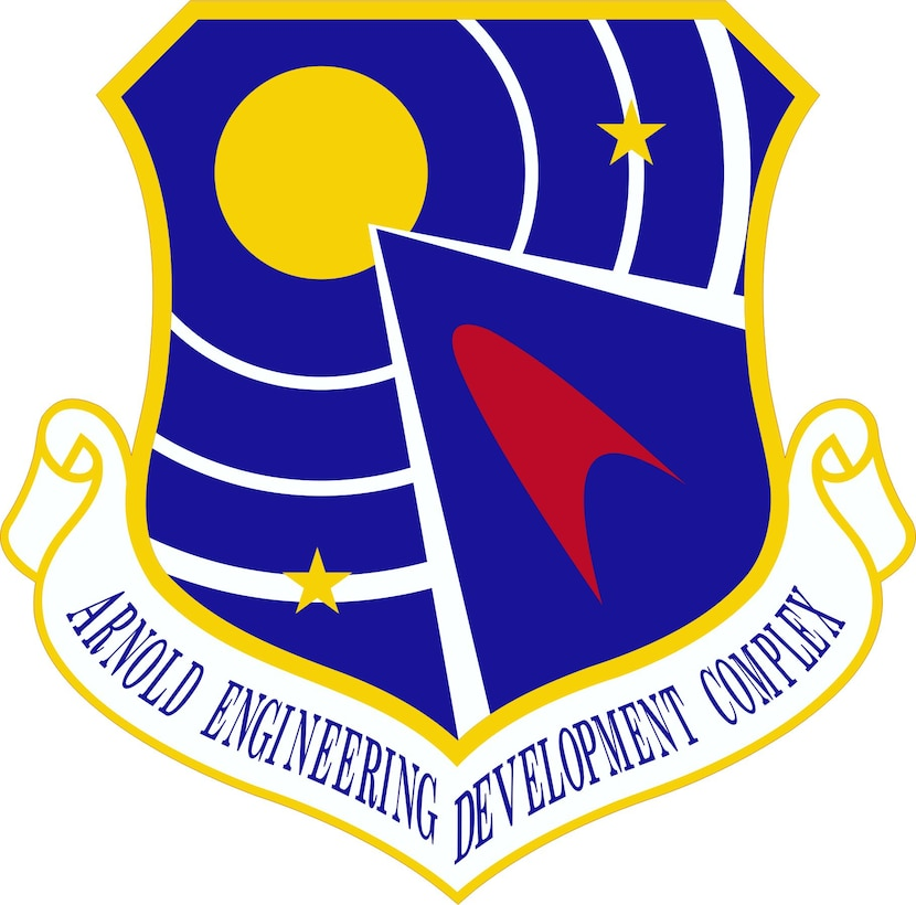 The current AEDC emblem is pictured. The emblem was designed in 1993 and officially approved the following year. (U.S. Air Force photo)